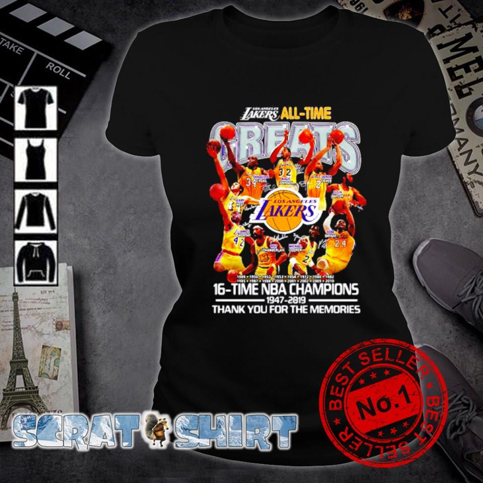 Los Angeles Lakers all time 16 time NBA champions s ladies-tee