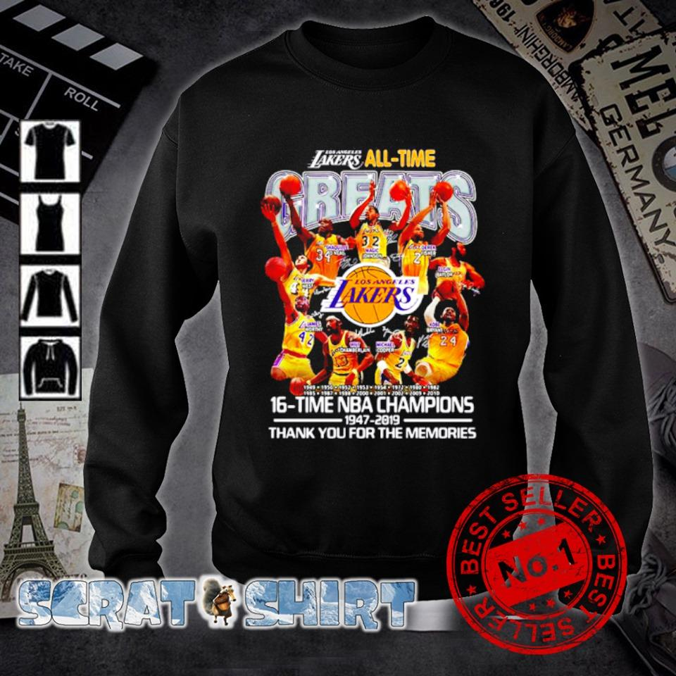 Los Angeles Lakers all time 16 time NBA champions s sweater