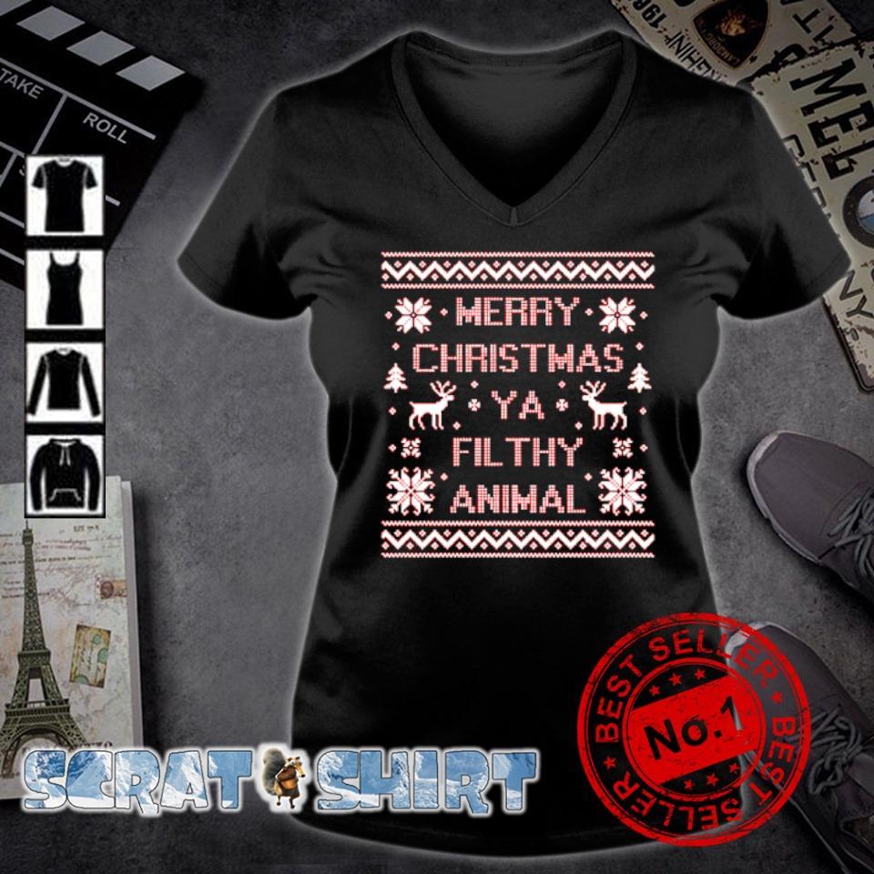 Merry Christmas ya filthy animal s v-neck t-shirt