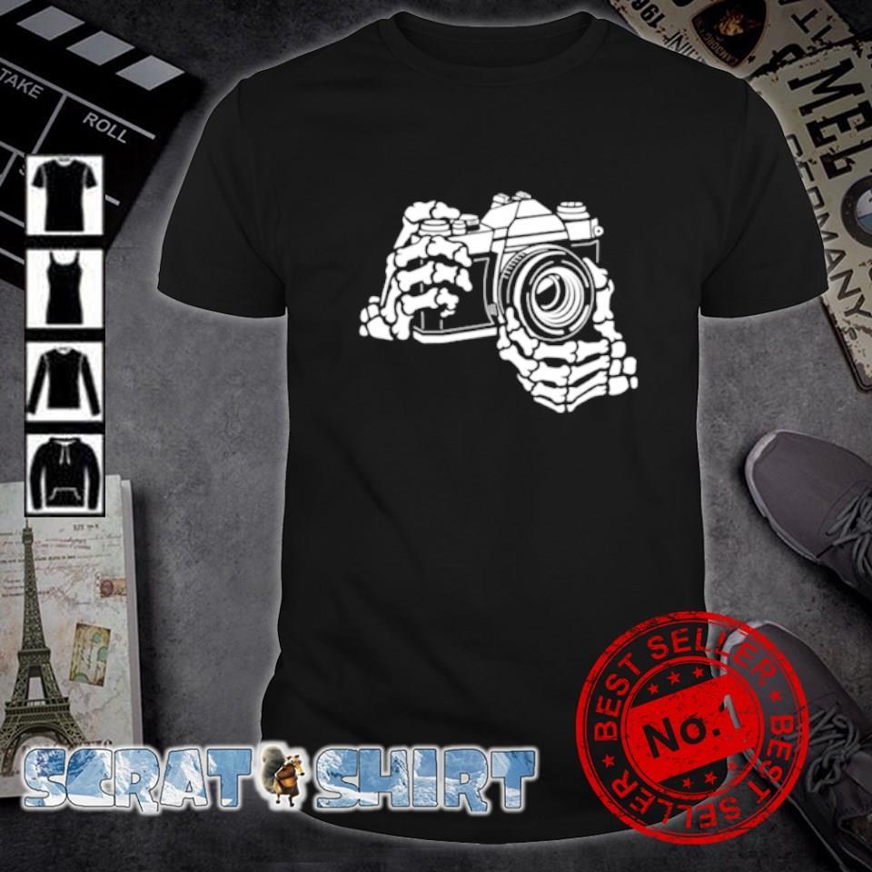 Skeleton hands camera shirt