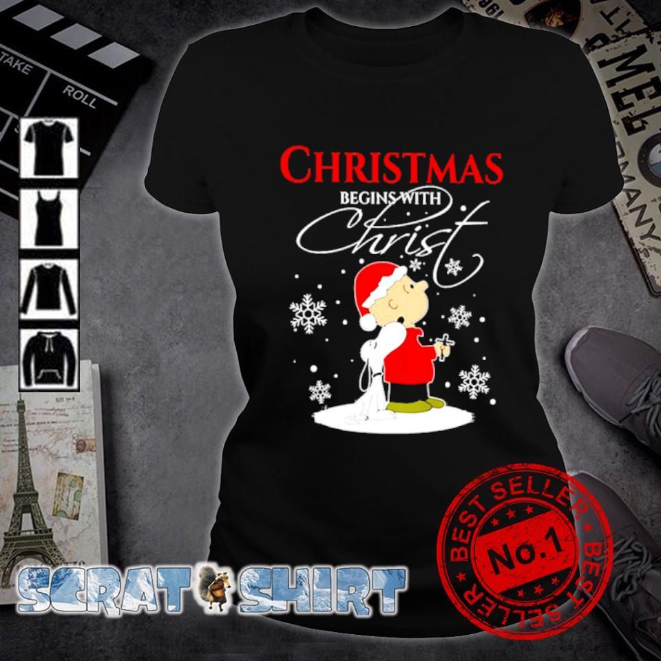 Snoopy and Charlie Brown Christmas begins with Christ s ladies-tee