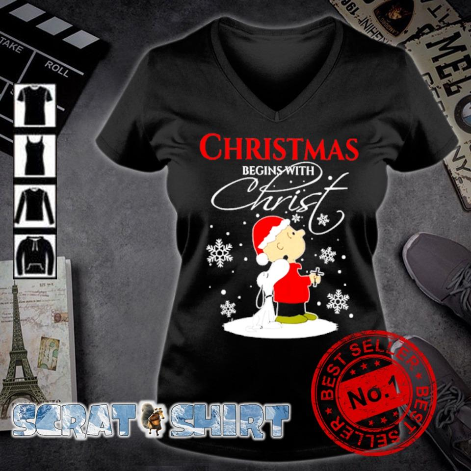 Snoopy and Charlie Brown Christmas begins with Christ s v-neck t-shirt