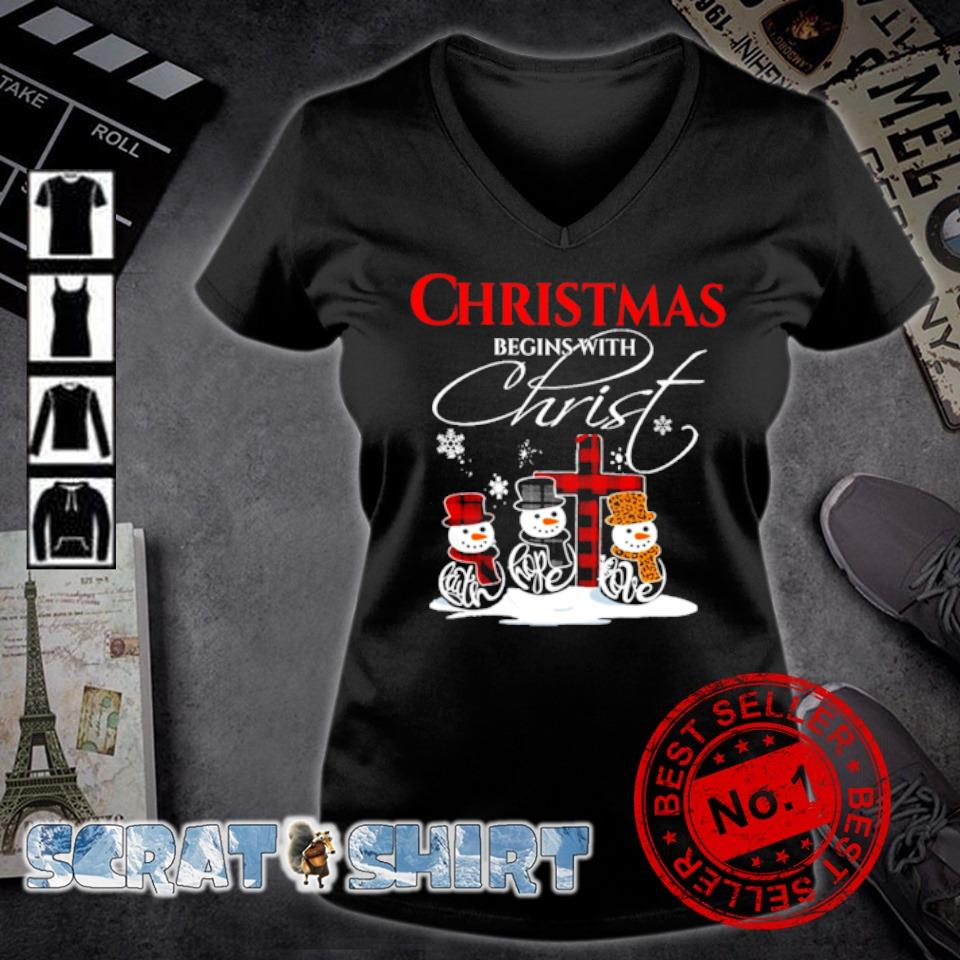 Snowman Christmas begins with christ s v-neck t-shirt