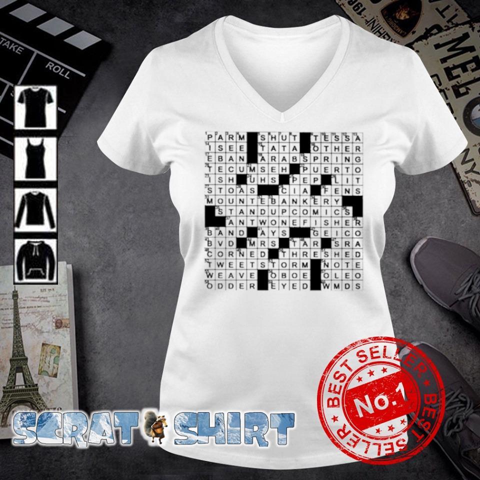 Stuffed crossword clue s v-neck t-shirt