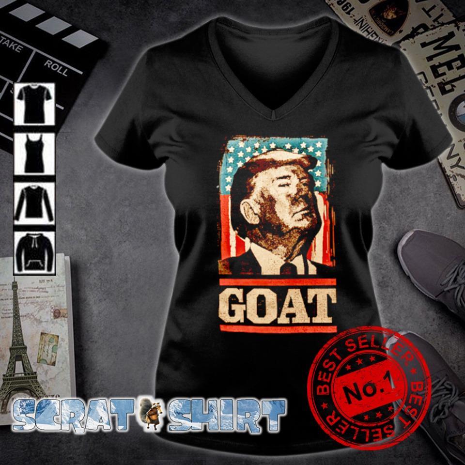 American flag Trump goat s v-neck t-shirt