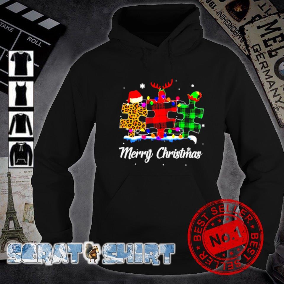 Autism plaid leopard Merry Christmas s hoodie