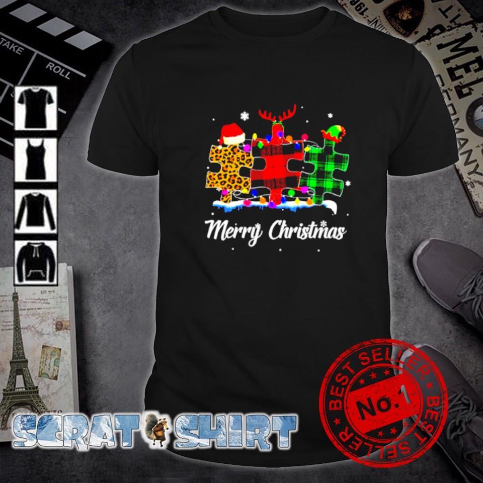 Autism plaid leopard Merry Christmas shirt