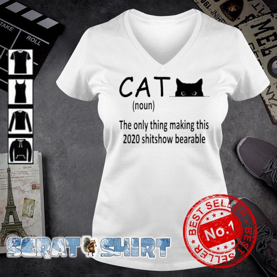 Cat the only thing making this 2020 shitshow bearable s v-neck t-shirt