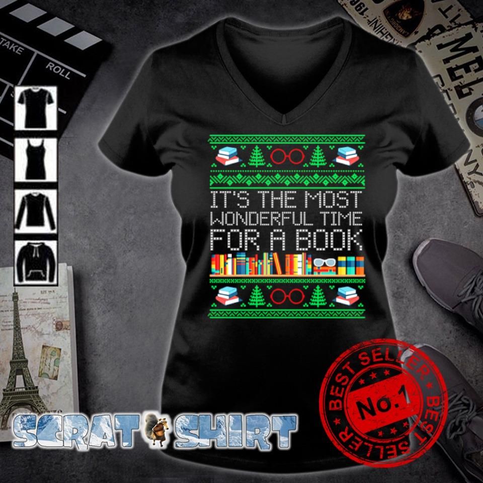 Christmas it's the most wonderful time for a book s v-neck t-shirt