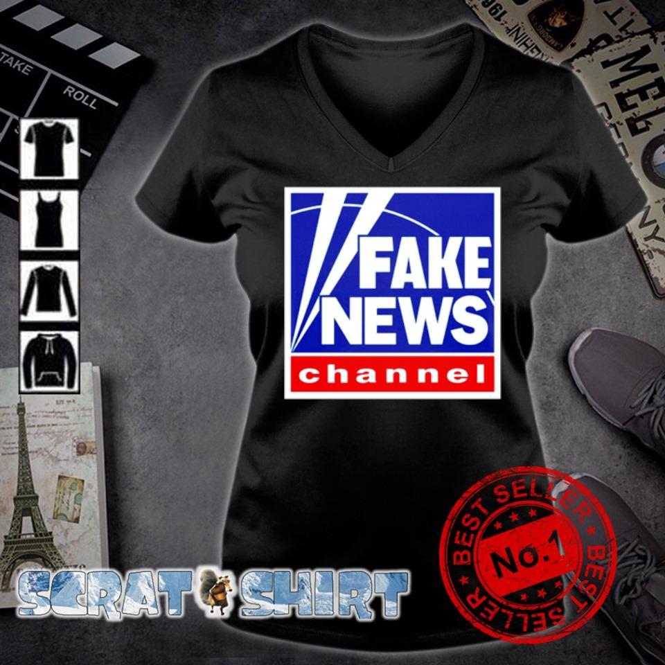 Fake news channel s v-neck t-shirt