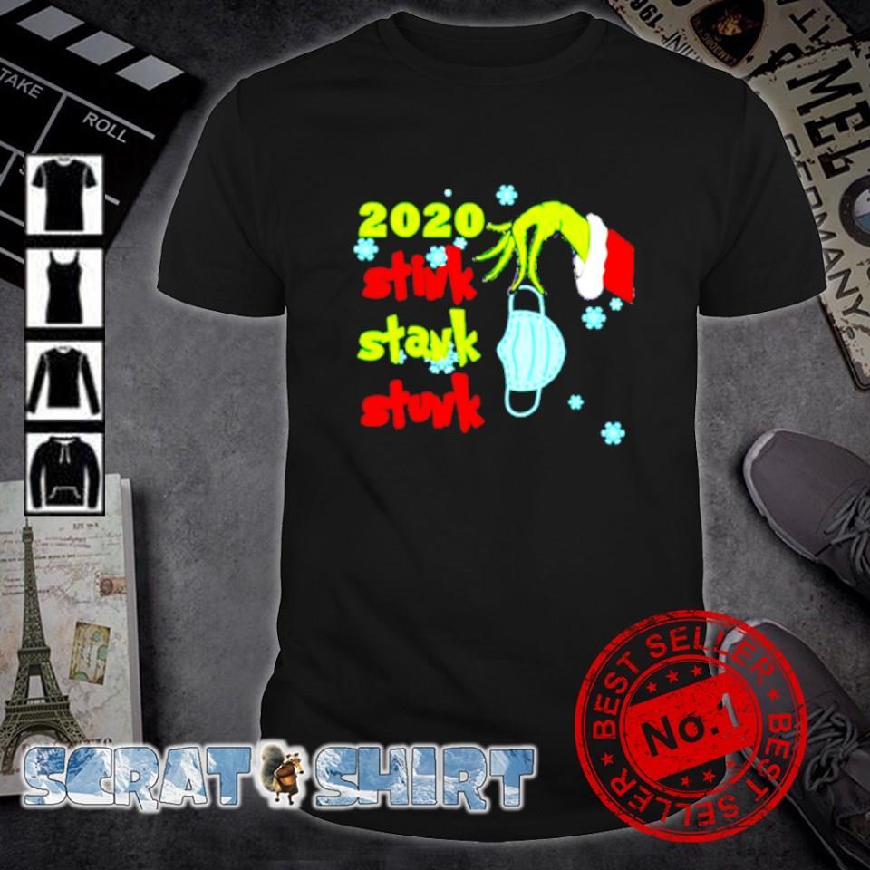 Grinch hand holding face mask 2020 stink stank stunk shirt