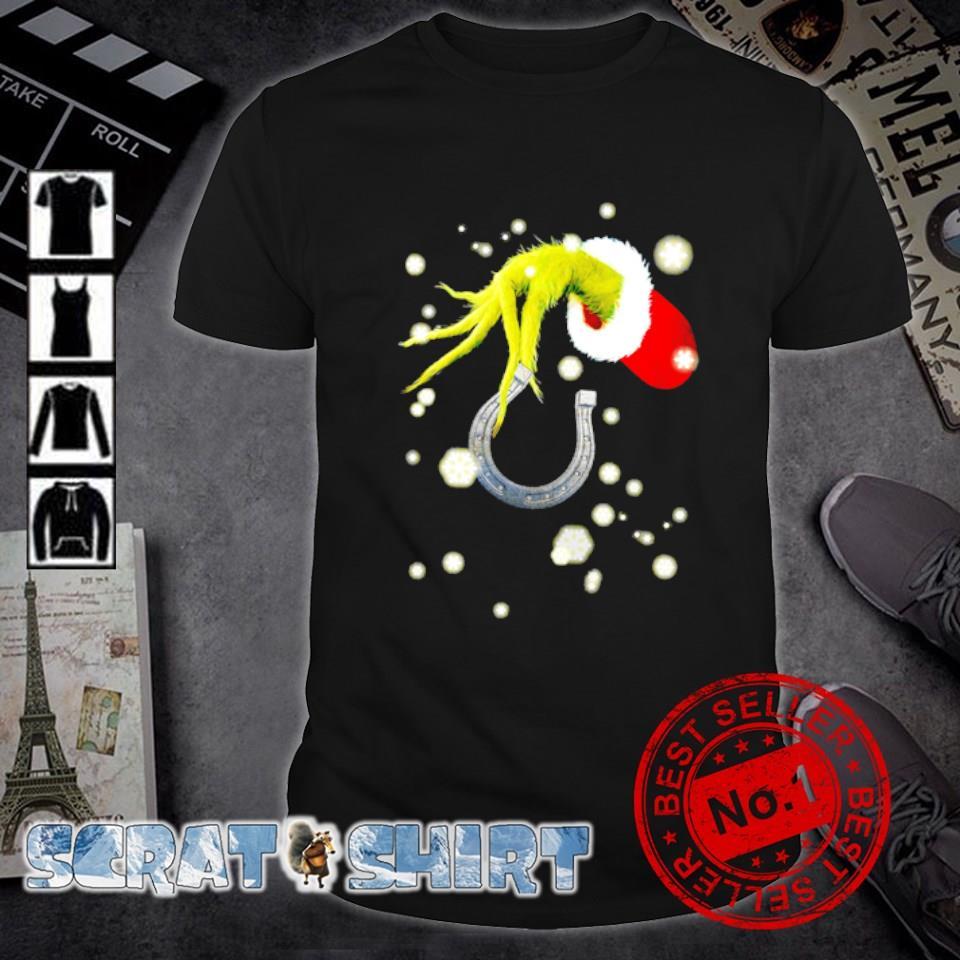 Grinch hand holding horseshoe Christmas shirt