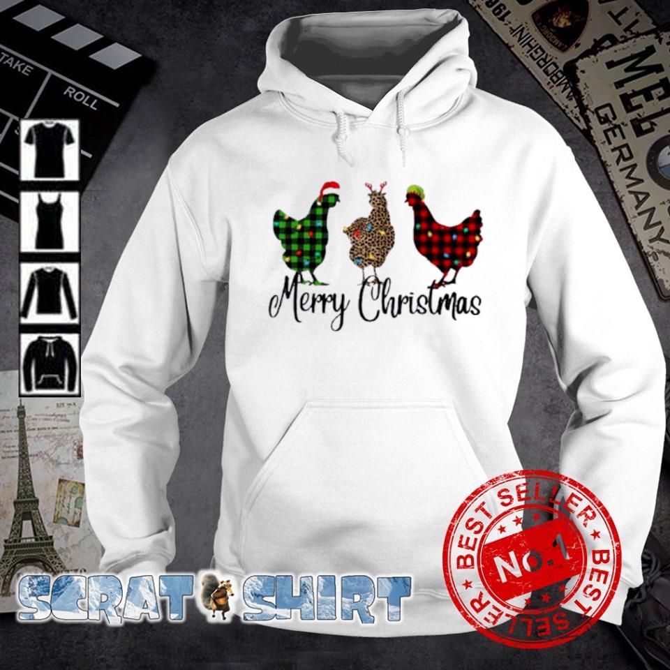 Santa Reindeer Elf three hens Merry Christmas s hoodie