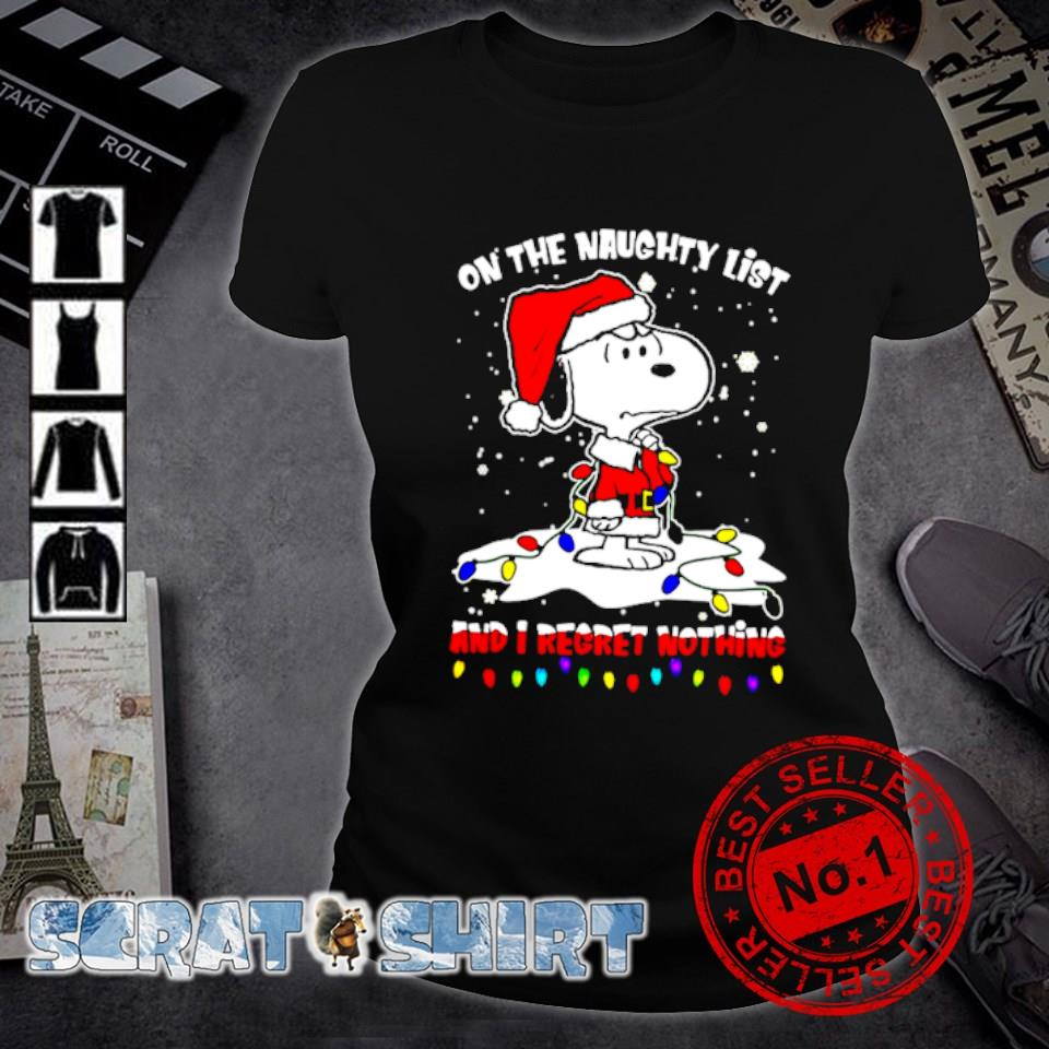 Santa Snoopy on the naughty list and I regret nothing Christmas s ladies-tee