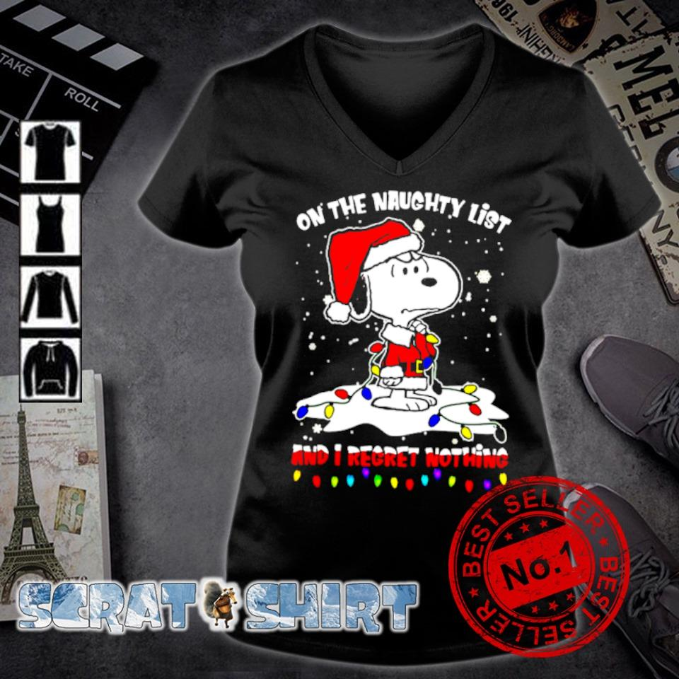 Santa Snoopy on the naughty list and I regret nothing Christmas s v-neck t-shirt