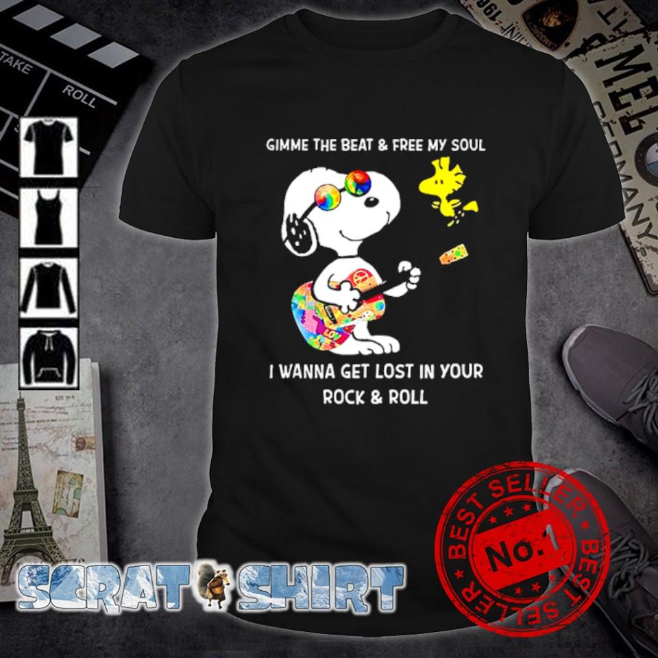 Snoopy and Woodstock gimme the beat and free my soul shirt