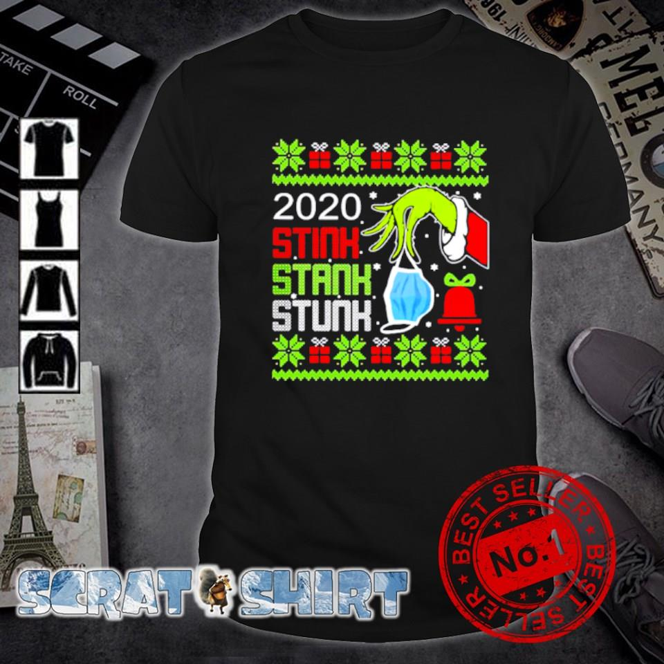 The Grinch hand holding mask 2020 stink stank stunk ugly Christmas shirt