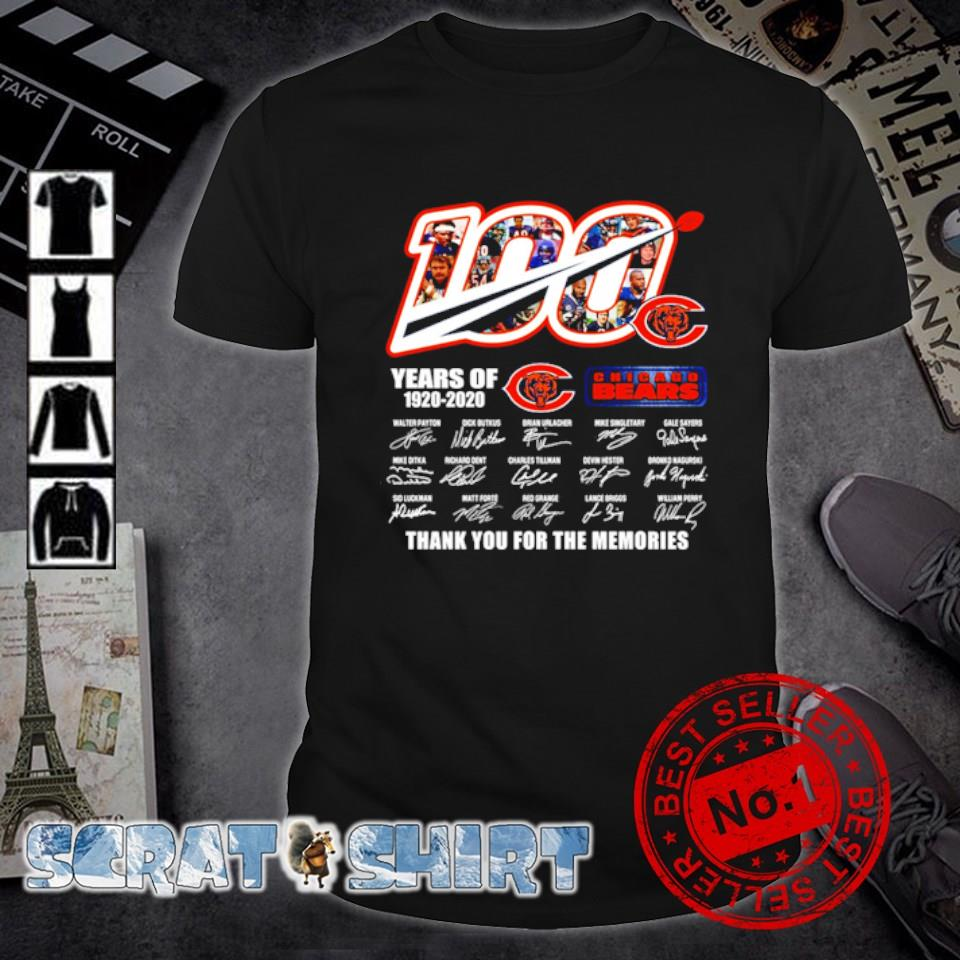 100 years of Chicago Bears 1920 2020 thank you for the memories signature shirt