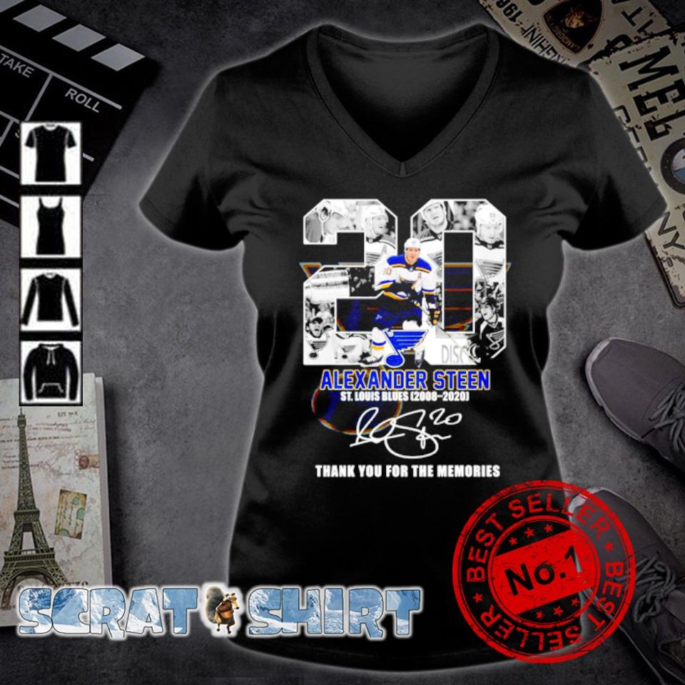 20 Alexander Steen St Louis Blues 2008 2020 thank you for the memories s v-neck t-shirt