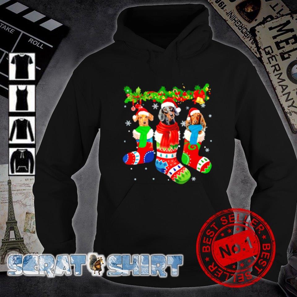 Dachshund in Christmas socks s hoodie