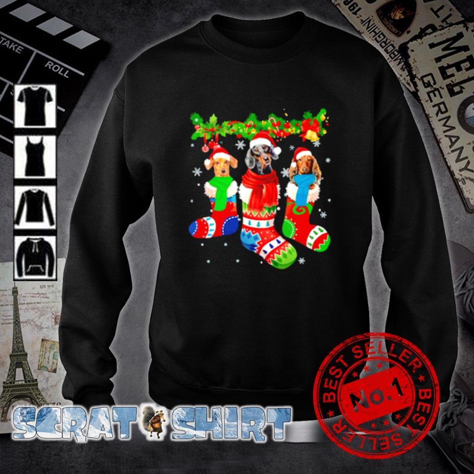 Dachshund in Christmas socks s sweater