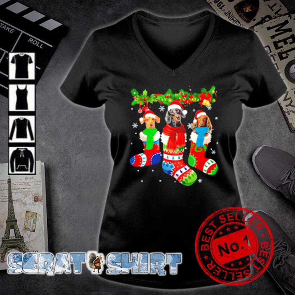 Dachshund in Christmas socks s v-neck t-shirt