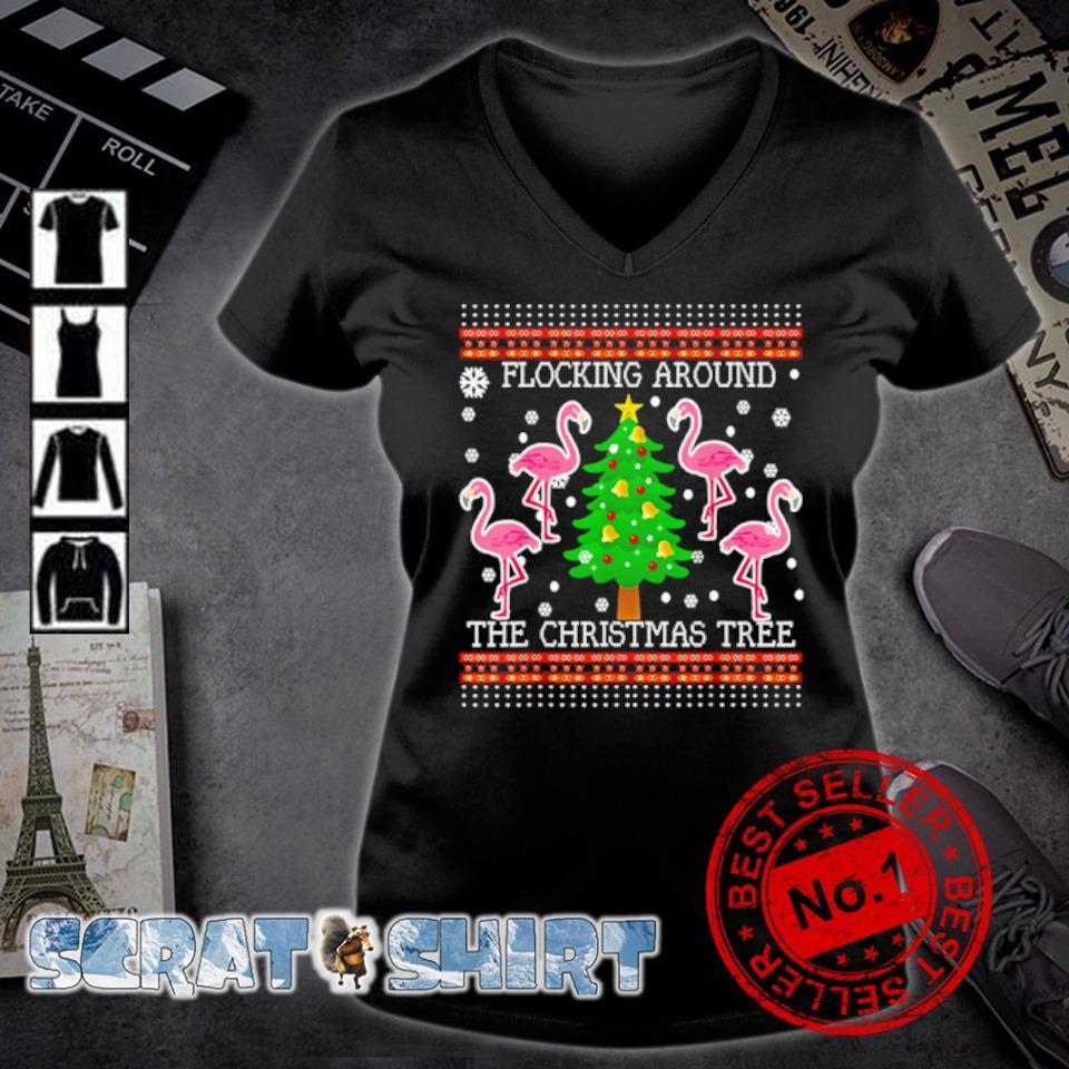 Flamingos flocking around the Christmas tree s v-neck t-shirt