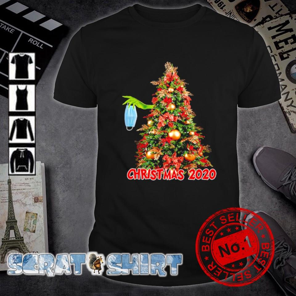 Grinch hand holding mask hide on Christmas tree Christmas 2020 shirt