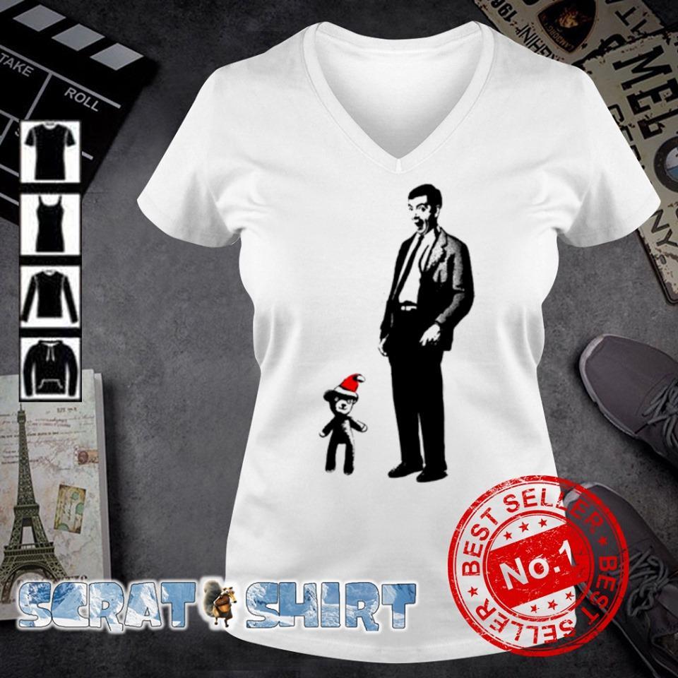 Mr Bean and Santa Teddy merry Christmas s v-neck t-shirt