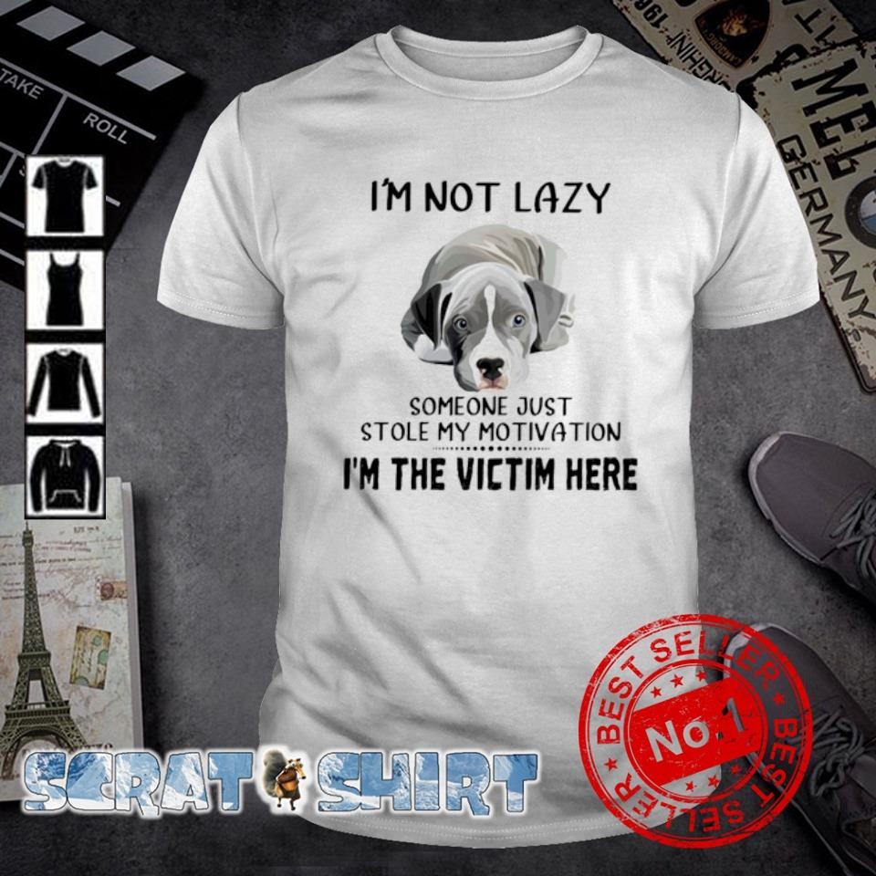 Pit bull I'm not lazy someone just stole my motivation I'm the victim here shirt