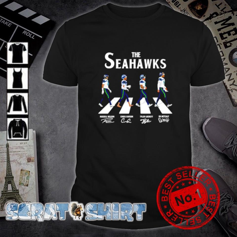 The Seahawks players as The Beatles Abbey Road signature shirt