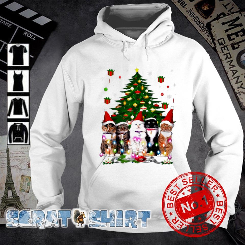 Tuxedo cats Christmas tree s hoodie