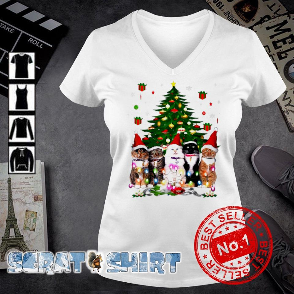 Tuxedo cats Christmas tree s v-neck t-shirt