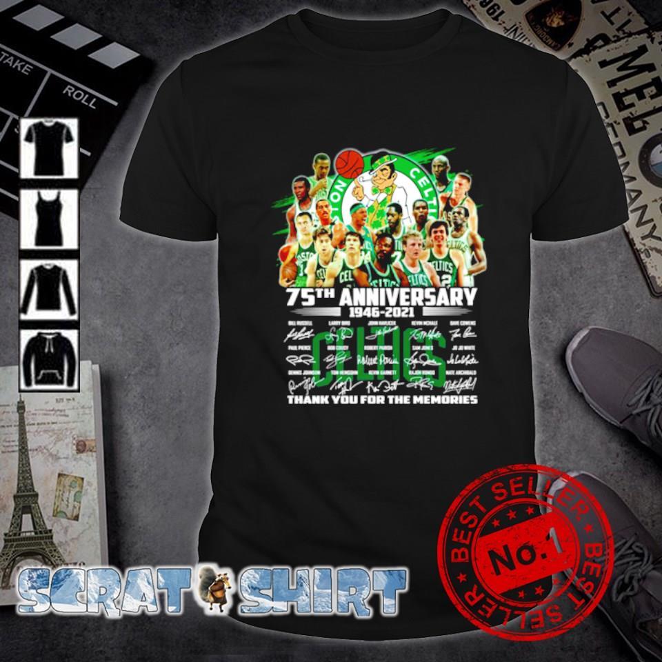 Boston Celtics 75th Anniversary 1946 2021 thank you for the memories shirt
