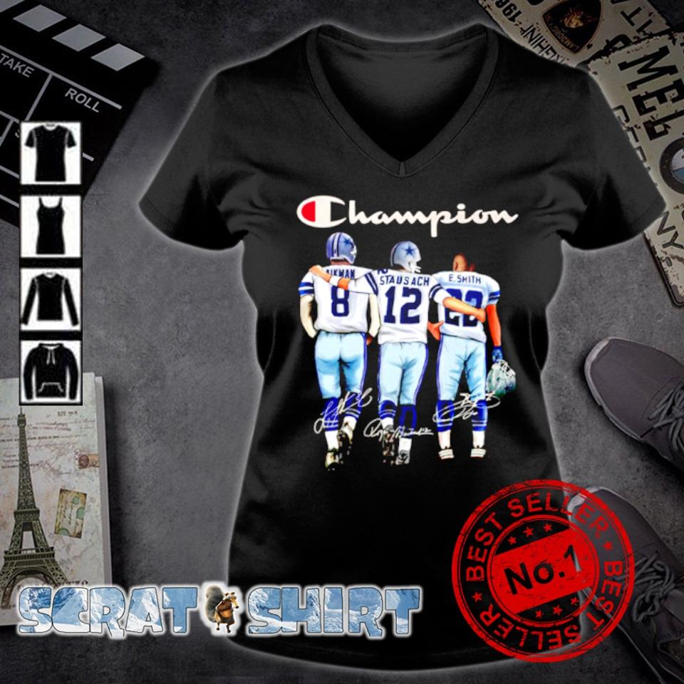 Dallas Cowboys champion Aikman Staubach Smith signature s v-neck t-shirt