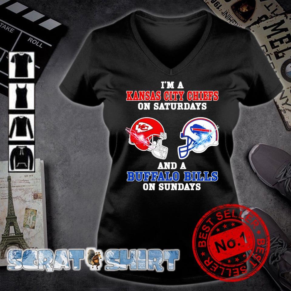I'm a Buffalo Bills on sundays and a Kansas City Chiefs on saturdays s v-neck t-shirt