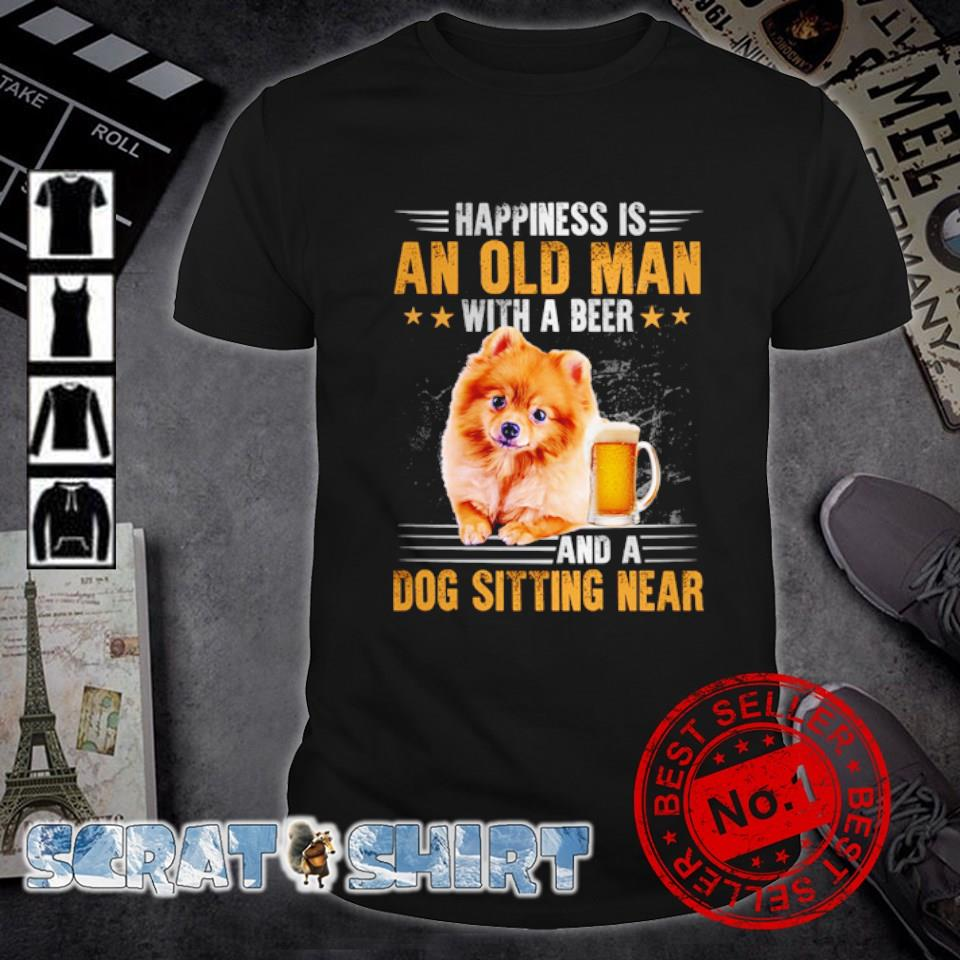 Pomeranian happiness is an old man with a beer and a dog sitting near shirt