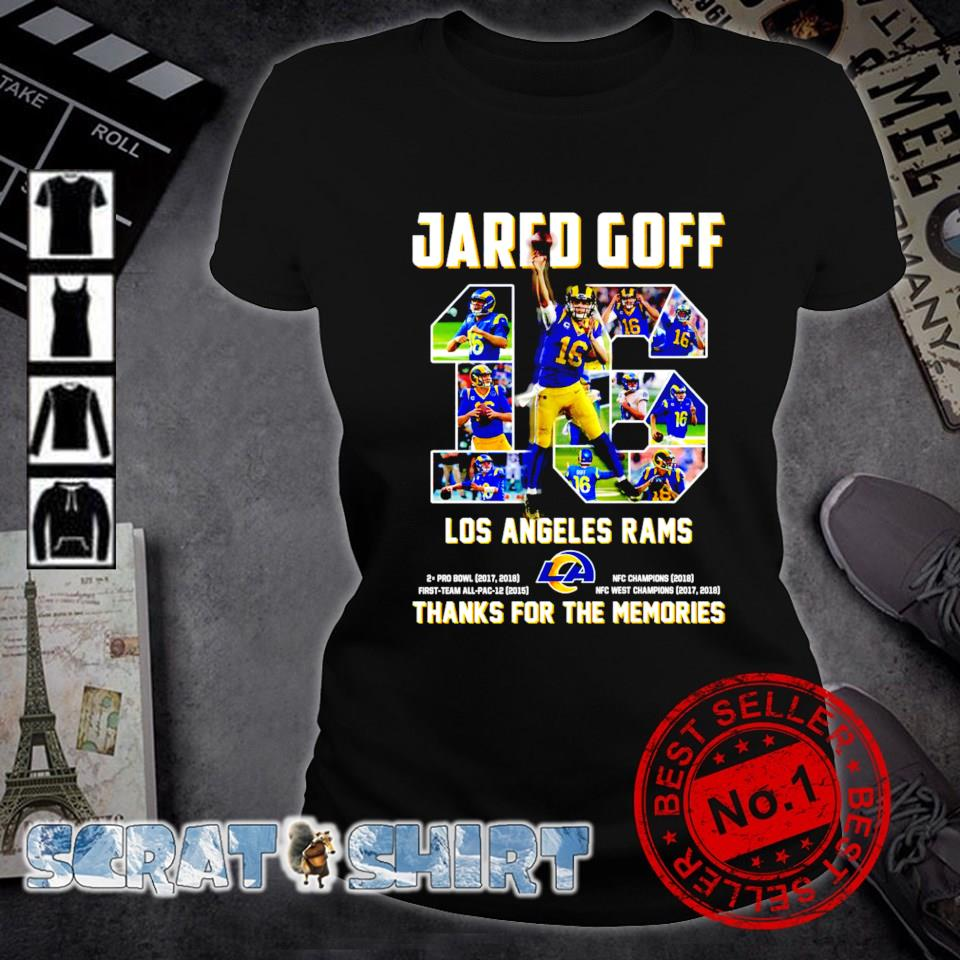 Jared Goff 16 Los Angeles Rams thanks for the memories s ladies-tee