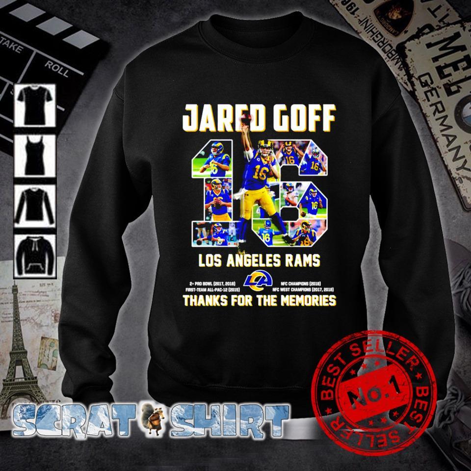 Jared Goff 16 Los Angeles Rams thanks for the memories s sweater