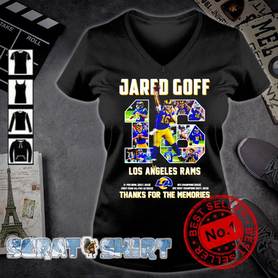 Jared Goff 16 Los Angeles Rams thanks for the memories s v-neck t-shirt