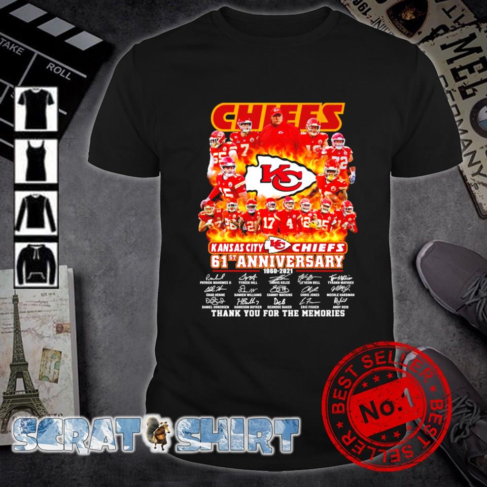 Kansas City Chiefs 61st Anniversary 1960 2021 thank you for the memories shirt