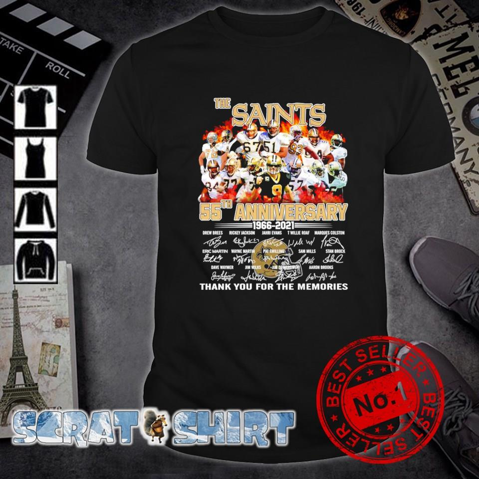 The Saints 55th Anniversary 1966 2021 thank you for the memories shirt